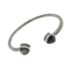 Bangle cable bracelet silver Abalone NWT
